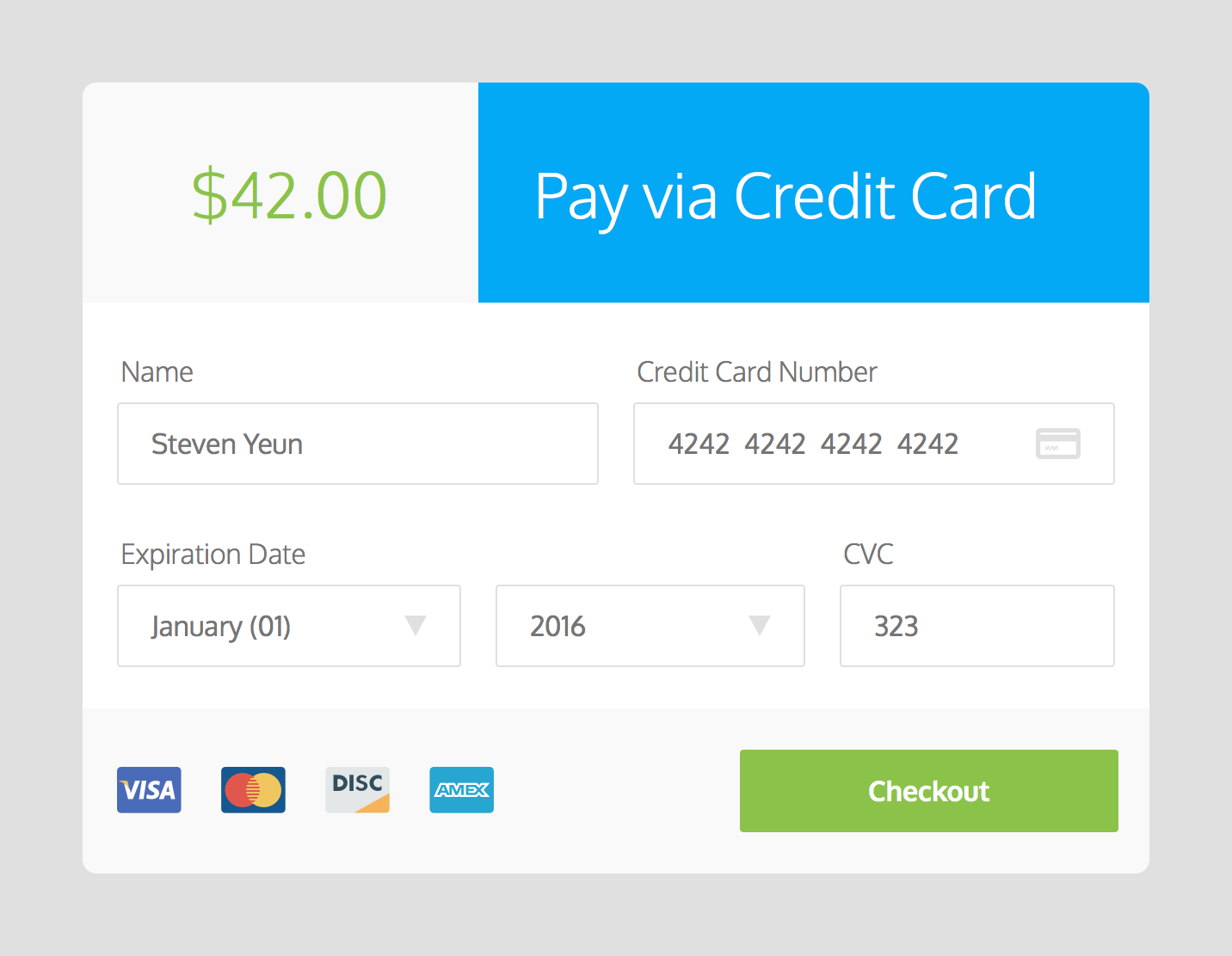 Daily UI #001 Credit Card Checkout Form